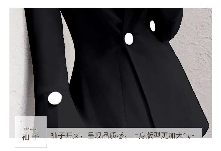 vieux Travail Deux Femelle Femmes 2 Automne Année Femme Noir Feminino Pièces Et Haut De Costume Pantalons Conjunto Ensemble Bureau 1P6On6