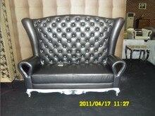 Vaca genuino / cuero real juego de sala muebles para el hogar sofá sofá sofá chesterfield plazas de amor con botón cristal
