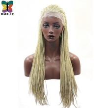 HAIR SW Long Straight Box braids Lace Front wig Blonde Fully Handbraided African Synthetic Braid For Black Women 24″ Bug/Black