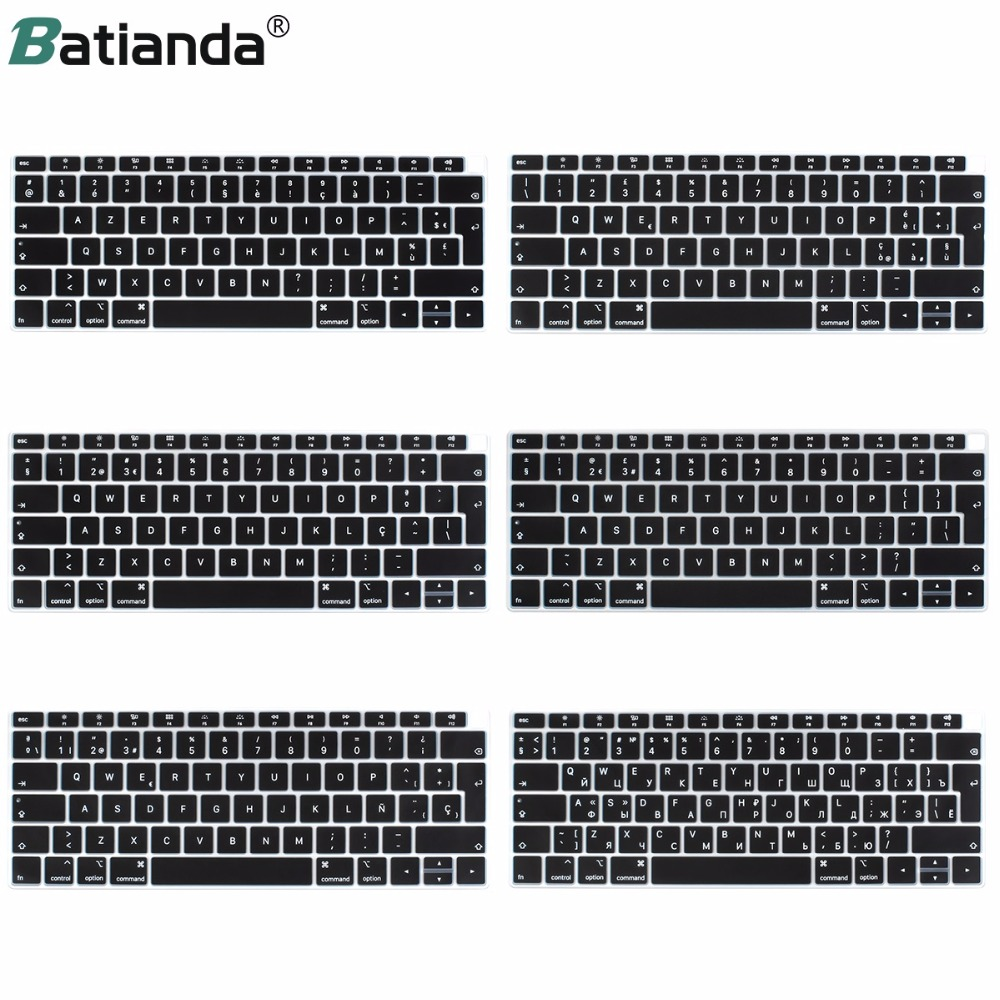 EU Enter Russian French PT Spain Italian English Layout For Macbook New Air 13 With Retina & Touch ID A1932 2018 Keyboard Cover