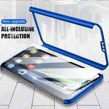 Lüks 360 Tam Kapak telefon kılıfı Için Huawei Onur 7C 8X Kılıf Için Onur 7A Pro 8x Max Durumda koruma kapağı Ile temperli Cam
