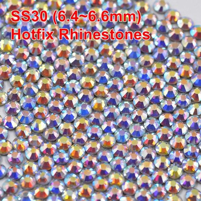 SS30 Crystal AB Hotfix Rhinestone Glass Flat Back DMC Hot Fix Iron On Design  Strass Crystal 85eedb4b4c38
