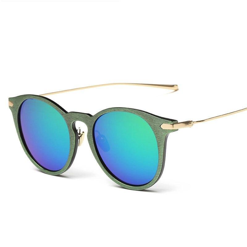2018 Brand Luxury Wood Grain Female Sunglasses Women Vintage Girls Oculos Coating Mirrored Driving Sun Glasses