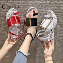 Summer new fashion muffin bottom sandals clip toe buckle with high-heeled casual thick-soled C1340