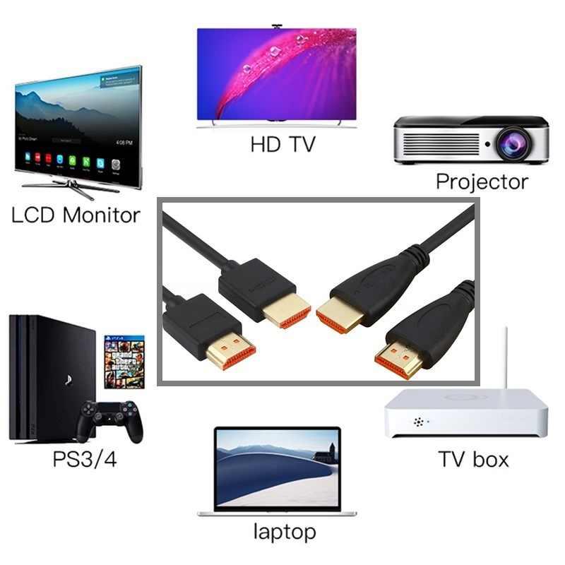 Kabel HDMI Kecepatan Tinggi HDMI Ke HDMI 1 M 1.5 M 2 M 3 M 5 M Berlapis Emas untuk HDTV TV Box Komputer Splitter Switch Extender