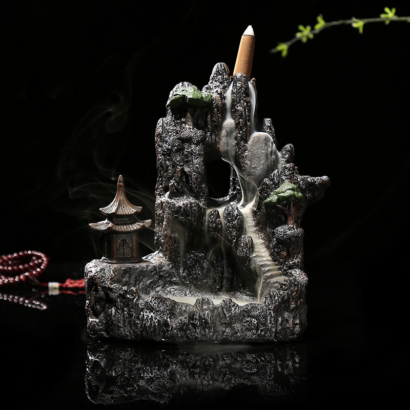 Chinese Vintage Ceramic Stone Backflow Incense Burner Unique Design Exquisite Sculpture Mountains Water Home Decorate Ornaments