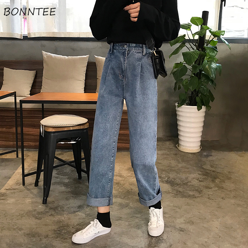 Jeans Women 2019 All-match High Waist Loose Straight Vintage Womens Jean Korean Style Simple Full-length Zipper Fly Trendy Chic