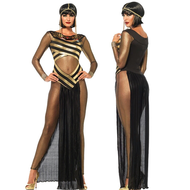 Quality Halloween Cosplay Ancient Egyptian Palace Cleopatra Queen Dress Sexy Queen Greek Girl Cleopatra Party Dress