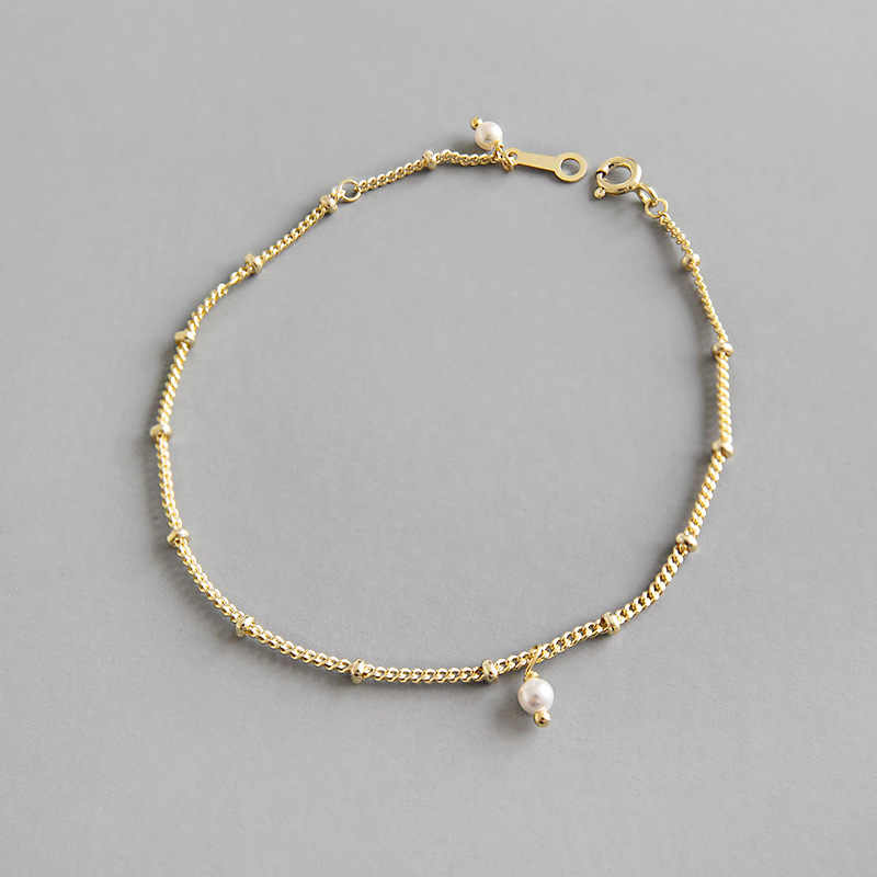 100% 925 sterling silver bracelets for women , simple simulated pearl bracelets & bangles pulseira feminina gold color jewelry