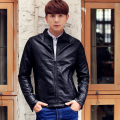 korean style Men's PU Leather Jacket Spring 2015 New Short Slim Casual Coat Zipper Fashion Top Quality