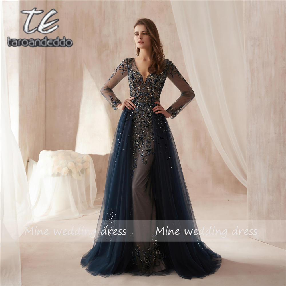 New Arrival Black Tulle Elegant A-line Long Sleeves Crystals Prom Dresses 2019 Beading Evening Dress with Tulle Skirt