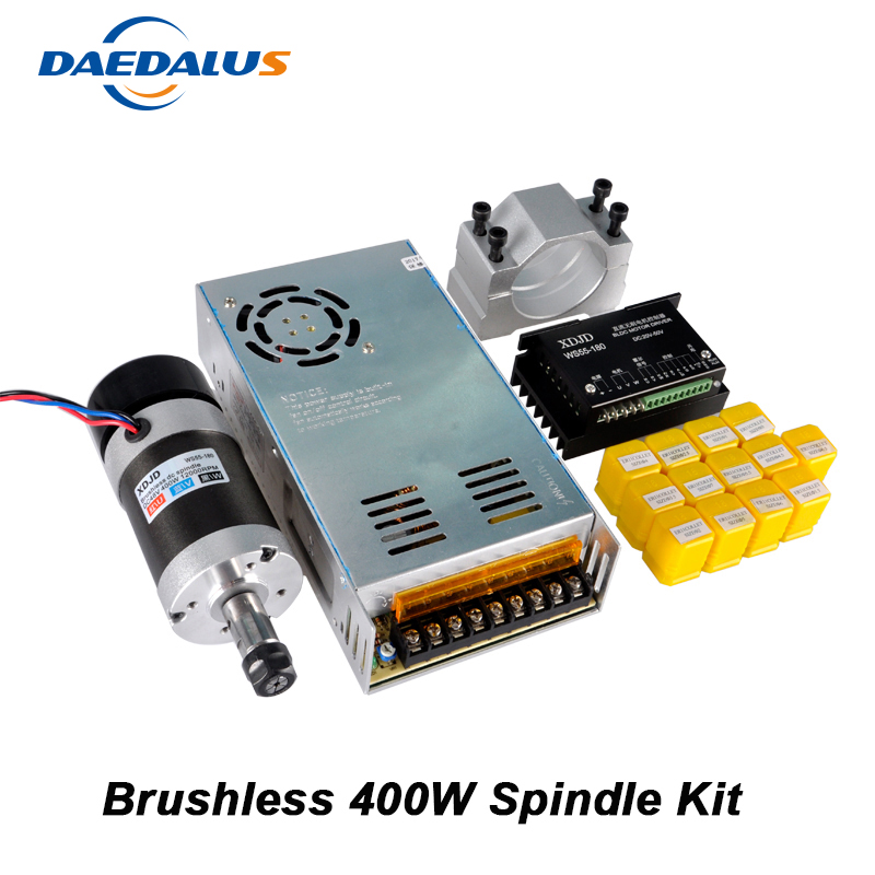 CNC Spindle 400W Air Cooled Spindle Brushless Motor Switching Power Supply + Motor Driver + 55MM Clamp + 13pcs ER11 Collet