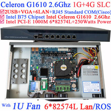 Core Network Routers 1U Firewall Server with six intel PCI-E 1000M 82574L Celeron G1610 2.6G CPU 1G RAM 4G SLC Mikrotik ROS etc