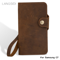 Luxury Genuine Leather flip Case For Samsung C7 retro crazy horse leather buckle style soft silicone bumper phone flip cover