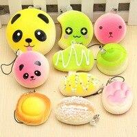 10 Pcs Lot Universal Mobile Phone Straps Chain Random Soft Panda Bread Cake Buns Bag Charm