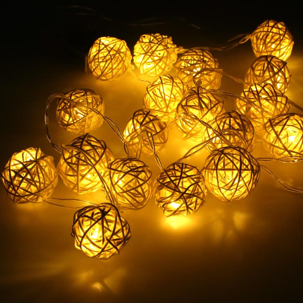 LED Батарея огни строки 2 м 20 штук White ручной ротанга Мячи строка огни Фея свадьбу патио Рождество Декор