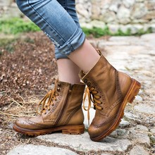 2016 Autumn Winter British Style Retro Women Ankle Boots Handmade Real Leather Punk Combat Martin Boots Designer Shoes Woman