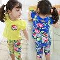 2016 Summer Flower Print Nice Girls Clothing Baby Child Short-Sleeve T-Shirt  Three Quarter Capris Beautiful 2Pcs Set