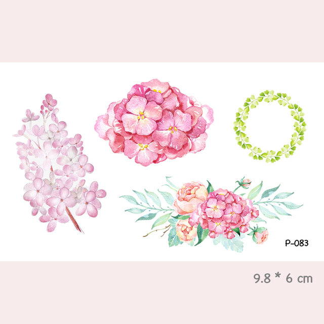 Watercolor Flower Waterproof Temporary Tattoo Stickers For Adults Kids Body Art Fake Tatoo For Women Men Tattoos P-083