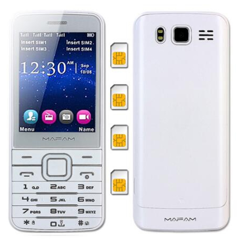 MAFAM Quad 4 SIM Four Magic Voice Changer Standby Plastic Slim Mobile Phone SOS Speed Dial Phonebook 1000 M11 V9500 Cell Phones