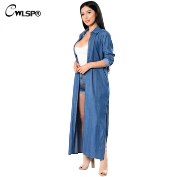 CWLSP 2018 Denim Trench Coat For Women Fashion Solid Lengthened Trench Coat  Female casual Coat X-long Casaco Feminino QZ2142 2