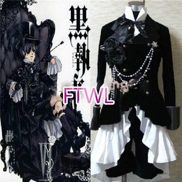 FTWL anime Black butler Kuroshitsuji Ciel Phantomhive Circus Black Suit Outfit Cosplay Costume custom made