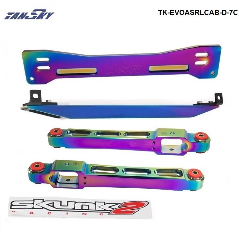 TANSKY -Neo Chrome Rear Lower Control Arm Subframe Brace Tie Bar For 1997-2001 Mitsubishi Mirage TK-EVOASRLCAB-D-7C neo chrome rear lower control arm lca for honda civic 2001 2005 e2c