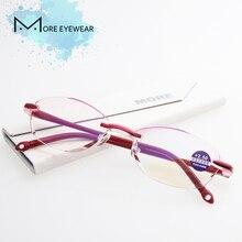 NOVO Sem Aro Óculos de Leitura Armação de Plástico Mulheres 2018 Leitor  Hipermetropia Presbiopia Ultraleve Olho c66f460c1f