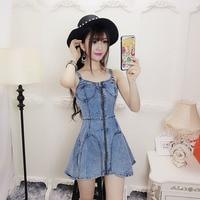 Taotrees Blue Zip Front Sexy Cami Denim Mini Dress Women Solid Sleeveless High Waist Spaghetti Strap Summer Dress