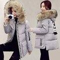 Горячий Новый Зимняя Куртка Женщины Пальто Плюс Размер Меховой Воротник Капюшоном вниз и Парки Куртки Женщины Мягкий Хлопок Верхней Одежды Толщиной Теплое Пальто