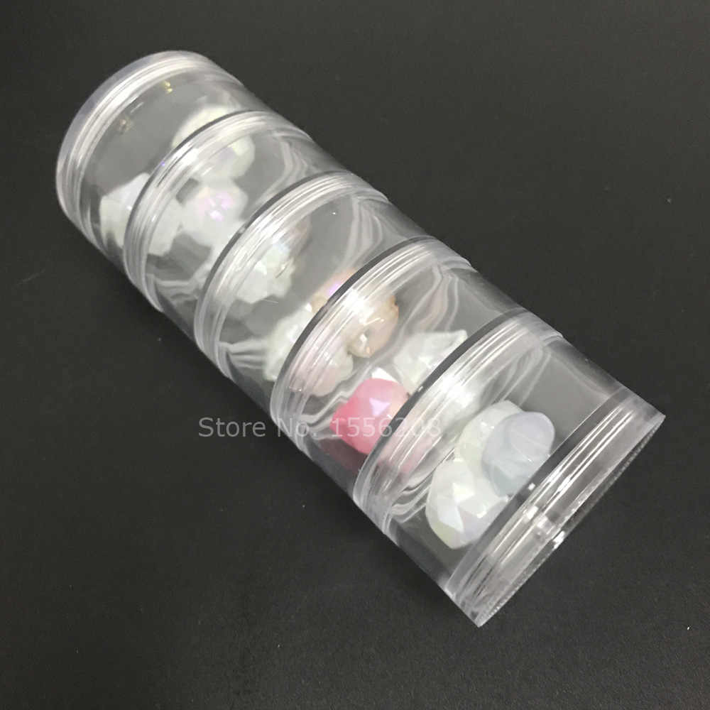 Di Plastica trasparente Contenitori di Minerali Display Trasparente di Trucco Cosmetico di Immagazzinaggio Impilabile Piccolo Vaso 5 strato
