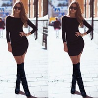 Women Long Sleeve O-neck Dress Sexy Stretch Bodycon Dresses 2017 Fashion Spring Autumn Style One Piece Casual Clothing u2
