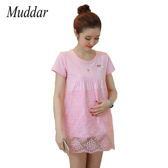 Vestito Da estate per Le Donne Incinte Cotone + Maglia Abbigliamento Fiore Di  Maternità Prenatale Gravidanza 594c7a0ee34