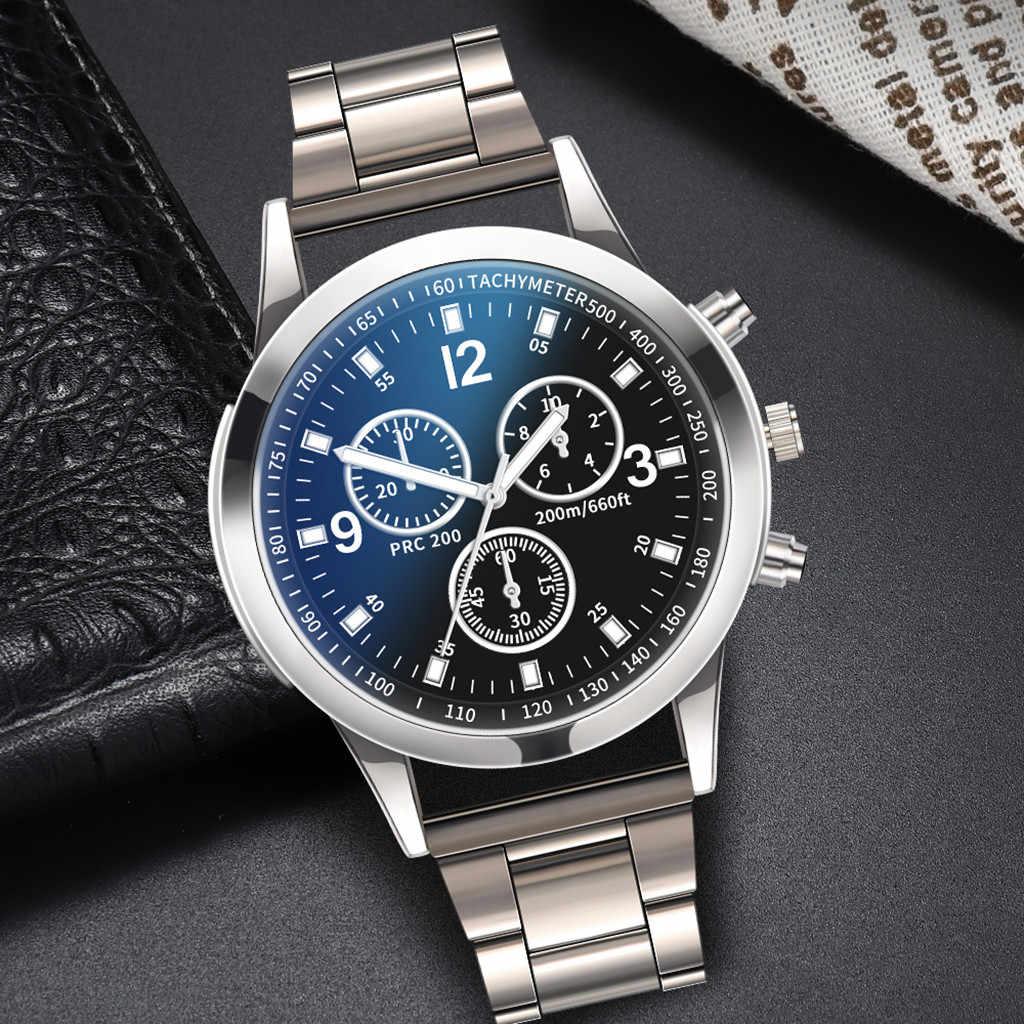 2019 nuevo reloj de pulsera de lujo de banda de aleación de reloj de cuarzo de acero inoxidable Dial Casual pulsera reloj masculino erkek