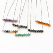 Natural Stone Pendant Necklace Chakra Jewelry for Women Girls Long Silver Chain Handmade Creative 1pc