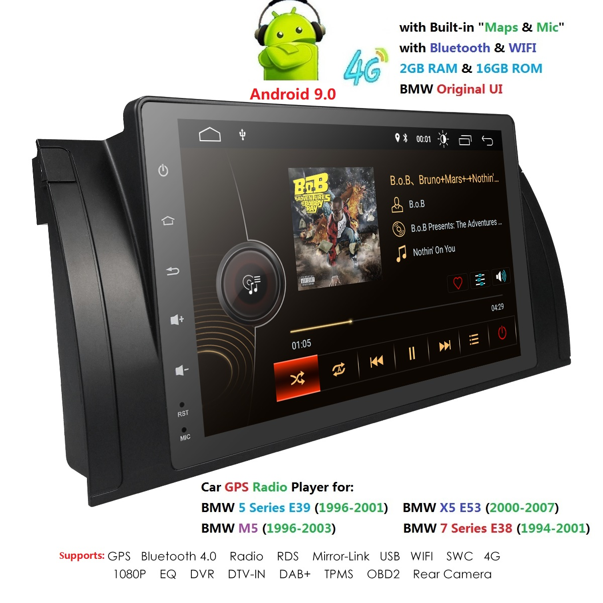 Car Multimedia Player Android 9.0 GPS Stereo System For BMW/E39/X5/E53 RAM 2GB Wifi FM AM Radio automotivo canbus usb bt rds obd