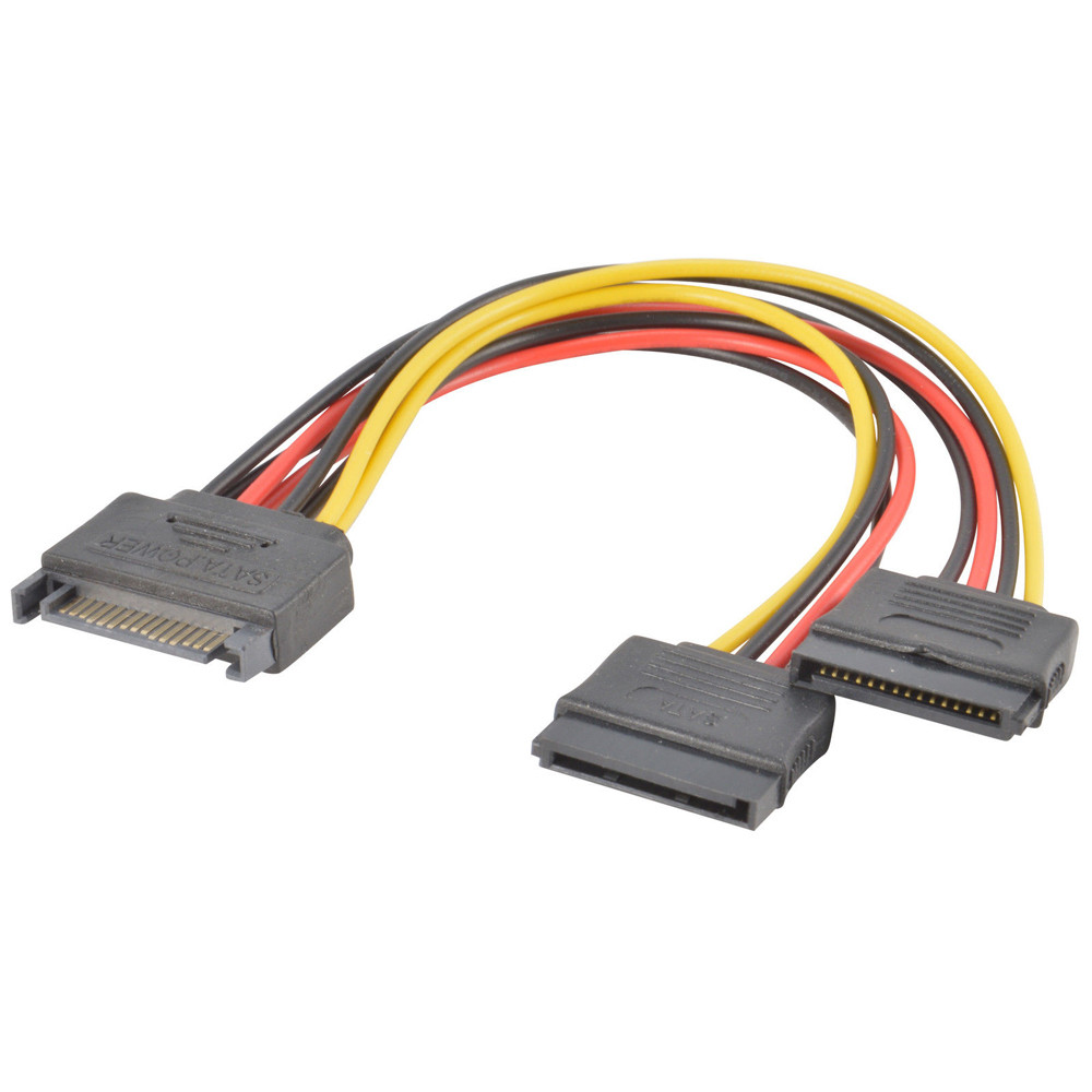 SATA Power 15-pin Y-Splitter Cable Adapter Male to Female for HDD Hard Drive Hot