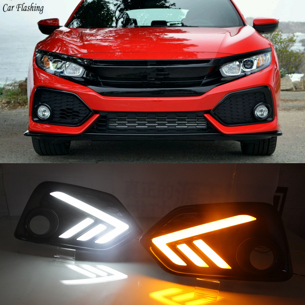 Car Flashing 1Set LED For Honda Civic 10th Hatchback 2016 2017 2018 DRL Daytime Running Light Daylight With Yellow Turn Signal