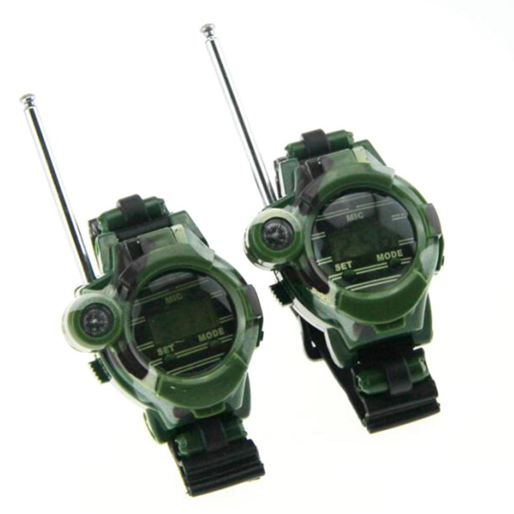 2pcs 7 In 1 Walkie Talkie Watch Camouflage Style Children Toy Kids Electric Strong Clear Range Interphone Kids Interactive 2pcs mini walkie talkie uhf interphone transceiver for kids use two way portable radio handled intercom free shipping