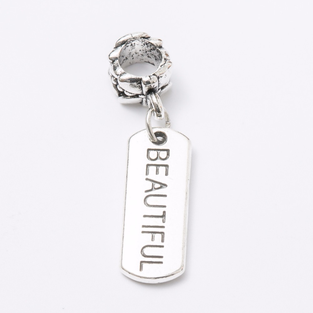 30pcs Plate BEAUTIFUL silver Bead fit Pandora charm bracelet DIY dangle Charm for pendants jewelry making JS1115