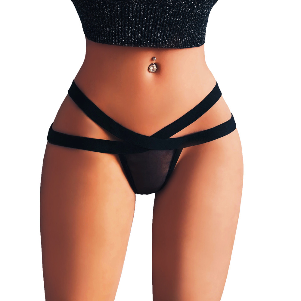 Big size Women Sexy Lingerie Mesh Briefs Summer Low Rise Bandage Thong G-String Underwear   Panties   Thongs Knickers plus 5XL