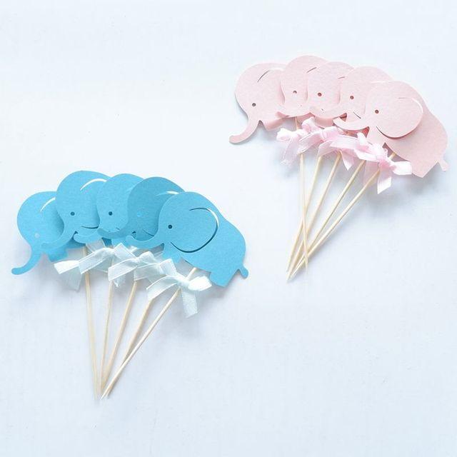 10Pcsสีชมพูช้างToppers Picks Cupcake Topperอาบน้ำเด็กอุปกรณ์เด็กเด็กวันเกิดเบเกอรี่เค้กParty Decor