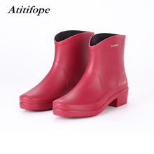 Rain boots female adult waterproof low tube rain boots cute tube ladies water shoes non-slip boots free shipping new fashion womens rain boots candy transparent low heels water shoes for female retro martin rain boots