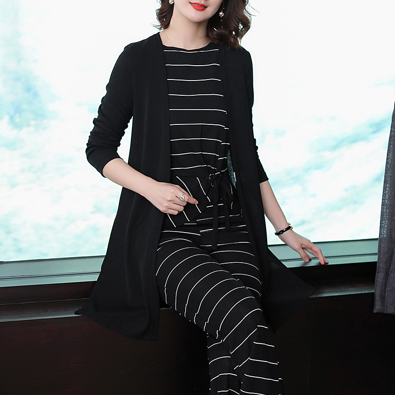 Black striped Winter 3 piece suit women tracksuits 2 piece set outfits co ord set pants suits and top plus size autumn clothes in Women 39 s Sets from Women 39 s Clothing