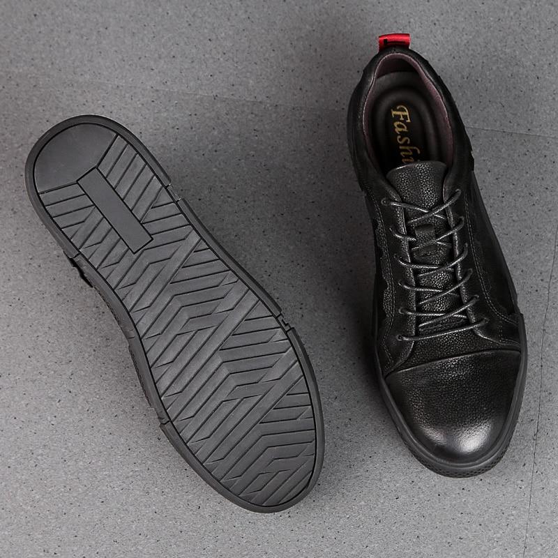 Negro Up Suela Antideslizante Solo Suave Goma Algodón De Grande Negro Estilo azul Size46 Casual Lace Felpa Zapatos Con Hombres Cuero Genuino Invierno Cwa7qx8wT