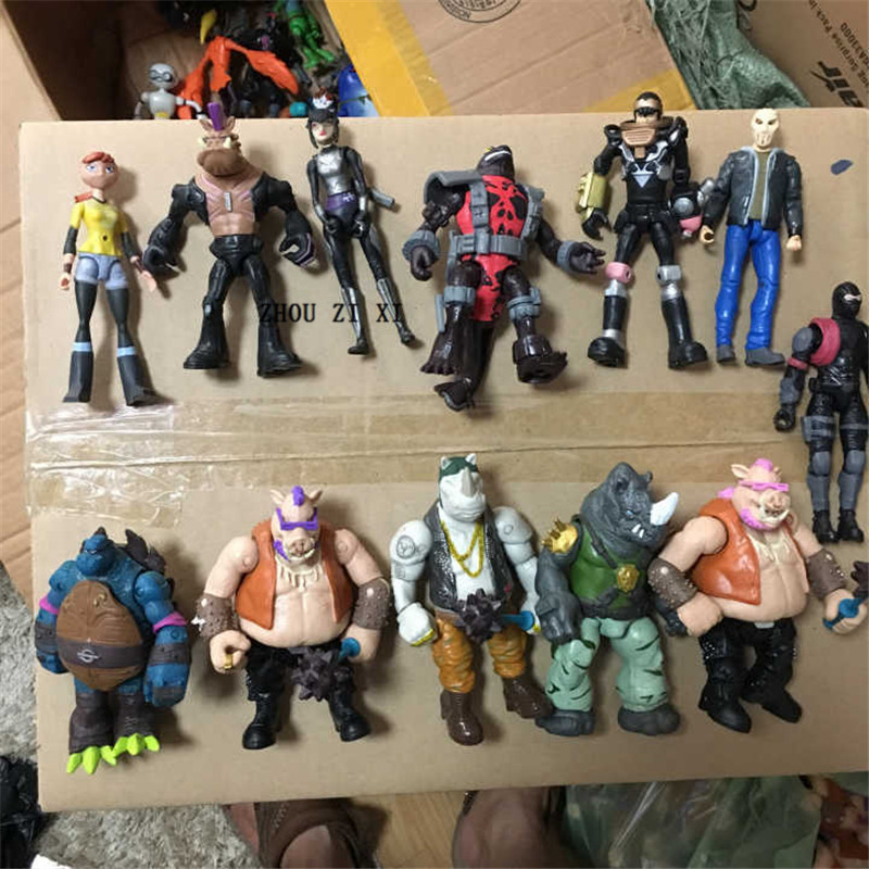 The Sewer Turtle Anime Action Figure Shredder April·O'Neil Karai Fishface Hands And Feet Can Move Handmade Toys For Children