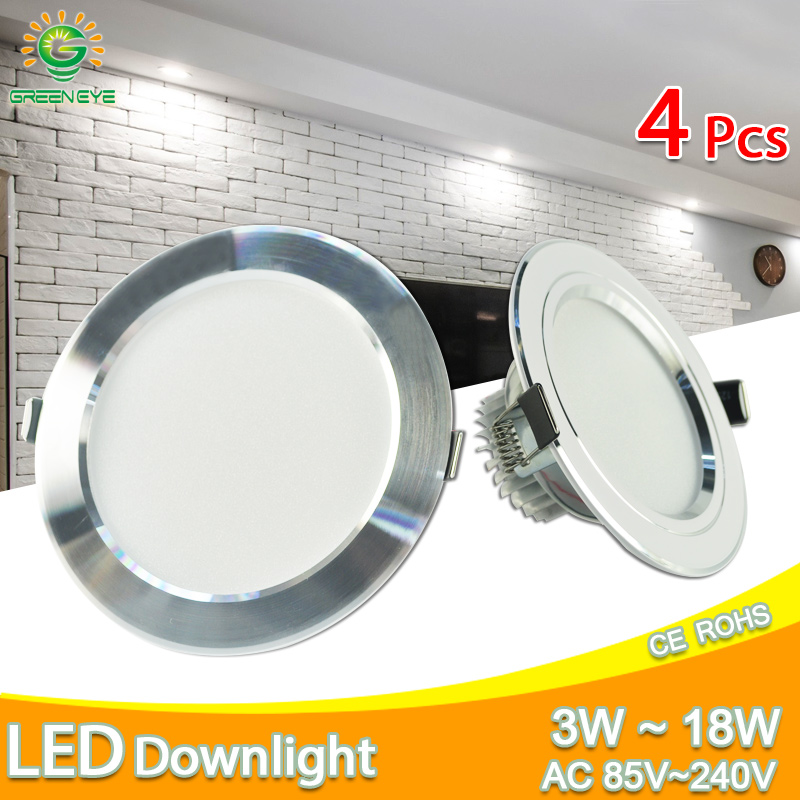 Silver White Ultra Bright LED Downlight 3w 5w 10w 12w 15w 18w Thin Round LED Ceiling Recessed Spot Light AC85~240v DownLight (China)