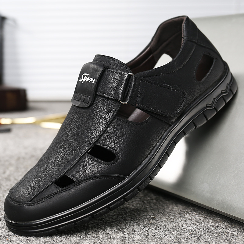 Genuine Leather Men Shoes 2020 Summer Men Sandals Black Leather Man Shoes Beach Sandals KA1124