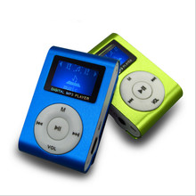 2015 New Portable Music TF Player Mini Metal Clip Download Free Music MP3 Player with LCD Screen and Micro TF/SD Card Slot