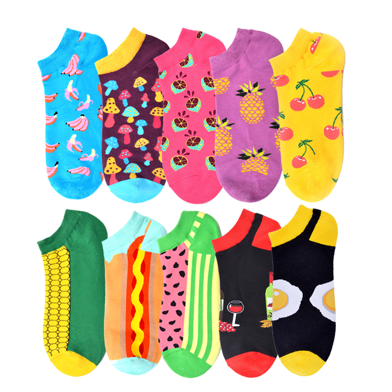 Happy Crew Street Socks Watermelon Cherry Lemon Socks Ankle Cotton Short Summer Funny Women Men Colorful Boat Invisible Socks